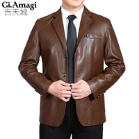M 4xl Sheepskin Jacket Autumn Mid Aged Men S Leather Jackets Fashion Winter Man Fur Big