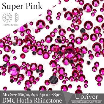 Upriver Super Rosa Mix Größen DMC Hotfix Strass Maschine Geschnitten Eisen Auf Lose Strass Für DIY Design