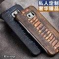 Para Sansung Galaxy S6 borda G9250 QIALINO marca genuíno couro Natural caso de couro de pele de avestruz perna cobertura padrão para S6 borda