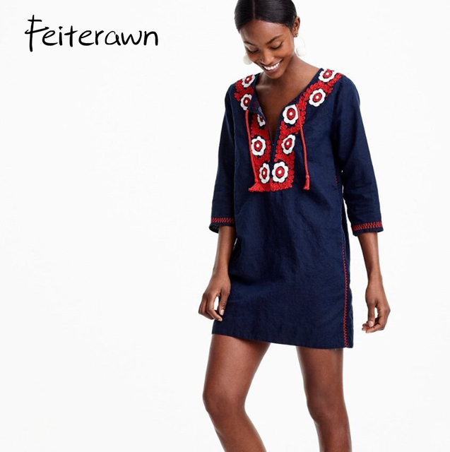 Feiterawn Women Summer V Neck Tunic Dress 3/4 Sleeve Drawstring Tassel Dress Navy Blue Red Embroidered Loose Blouse XF060