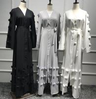 2018 Adult Casual Cardigan Flower Robe Musulmane Turkish Dubai Fashion Abaya Muslim Dress Robes Arab Worship