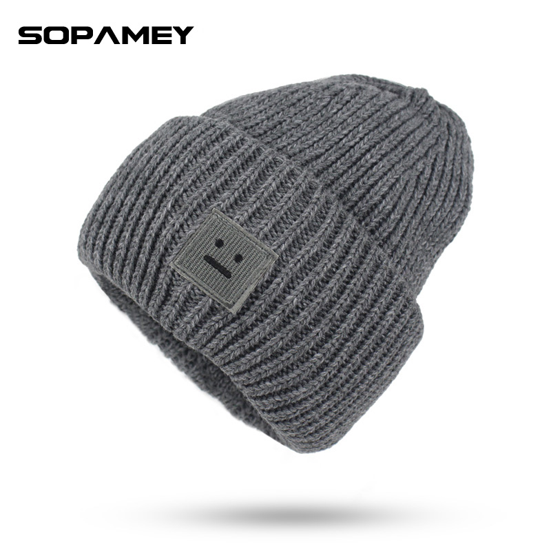 New Women Hats Skullies Beanies Winter Warm  Bone Gorros Knitting Patch Patchwork Hat Women Toucas Striped Teenage Hedging cap skullies