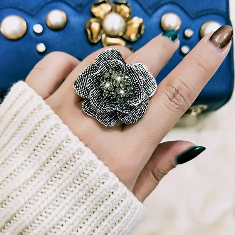 SINLEERY Vintage Besar Hitam Asli Cubic Zircon Flower Finger Rings Ukuran Adjustable Antique Perak Warna Partai Perhiasan Jz387 SSA