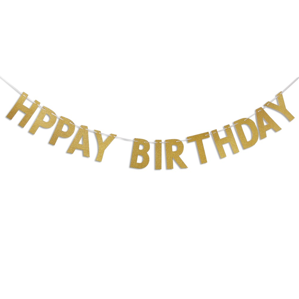 Happy Birthday Banner Chic Glitter Gold Party Decorations Versatile Beautiful Bunting Flag Garland