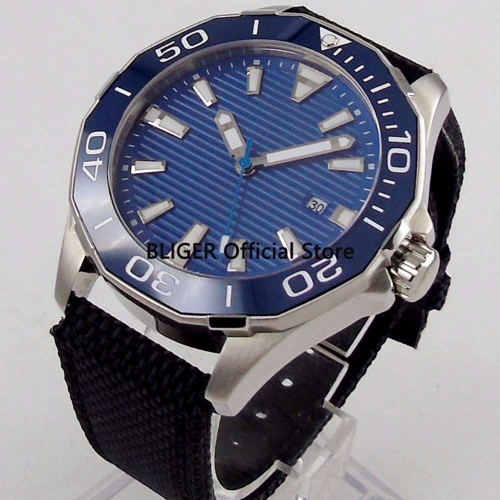 45mm Blue Sterile Dial Mens Watch Ceramic Rotating Bezel Stainless Steel Case Leather Strap Luminous Miyota Automatic Movement45mm Blue Sterile Dial Mens Watch Ceramic Rotating Bezel Stainless Steel Case Leather Strap Luminous Miyota Automatic Movement