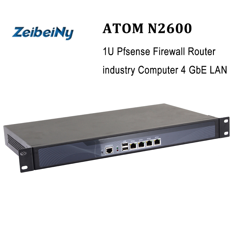 Intel router appliance 1U chassis vpn server Atom N2600 1.66ghz Firewall Router industry Computer 4 GbE LAN