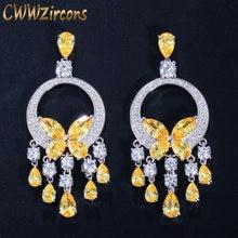 CWWZircons-pendientes largos de gota con borlas de cristal amarillo y piedra de circonia cúbica para mujer, joyería para fiesta y boda CZ034