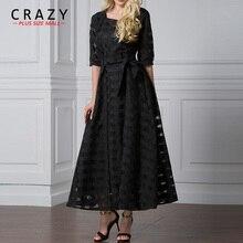 Платье сумасшедшего размера плюс из черной органзы плюс женские вечерние элегантные платья 7XL 6XL 5XL вечерние платья 9065