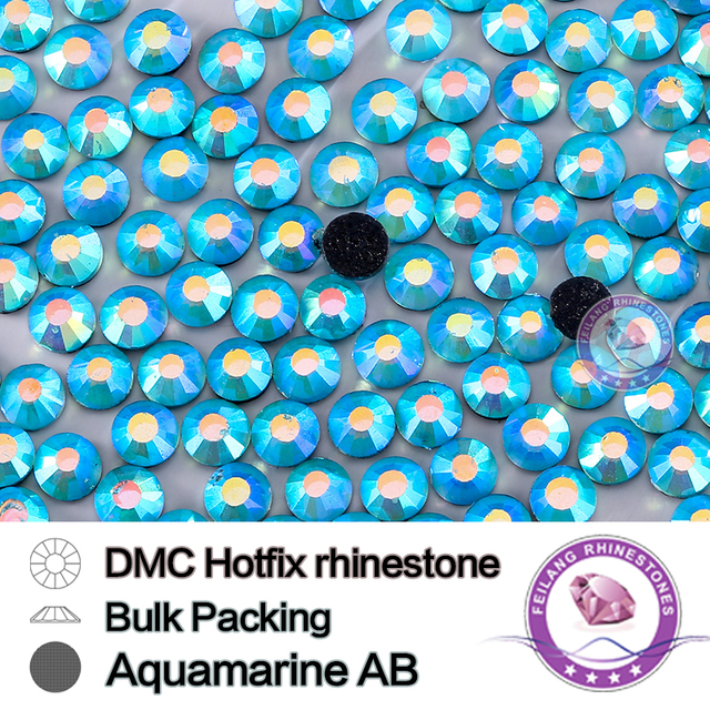 Aquamarine AB Size SS16 SS20 SS30 Bulking Packing HotFix Rhinestone For Garments Bags And Shoes