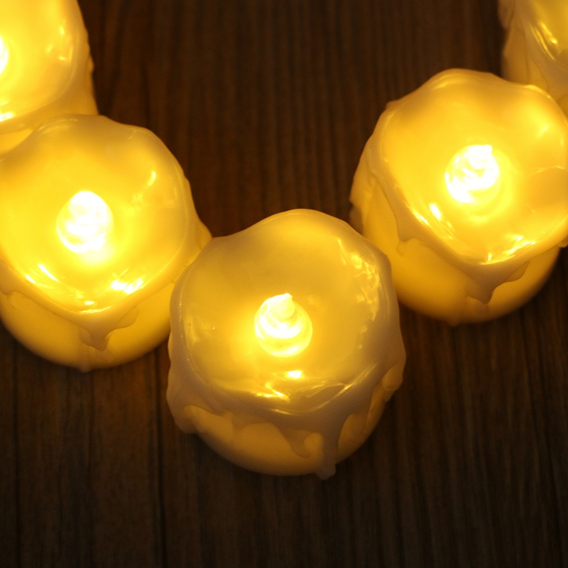 12Pcs/Set LED Tear Drop Flameless Candles With Warm White Flickering Flashing Light Home Decor