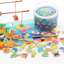 40pcs Logwood Baby Toys Magnetic Fishing Educational Fishing Game Wooden Toys Child Birthday Christmas Gifts baby educational toys thick magnetic wooden fishing pole game for kids 9pcs ocean fish fun jigsaw board birthday christmas gift