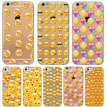 Caso para apple iphone 6 6 emoji emoticons s 6 plus 6 s mais 5 5S 5C 4 4S Transparente de Silicone Macio TPU Tampa Do Telefone Projeto Funky