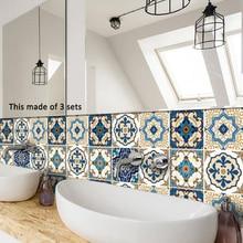 PVC Hotel Bathroom Kitchen Moroccan Tiles Waterproof Self Adhesive Wallpaper Furniture DIY Arab Tile Sticker