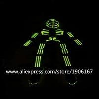 RGB Led Luminous Robot Suit Colorful Light Up Ballroom Costume Illuminated LED Clothing Growing Light Kryoman Clothes With Mask