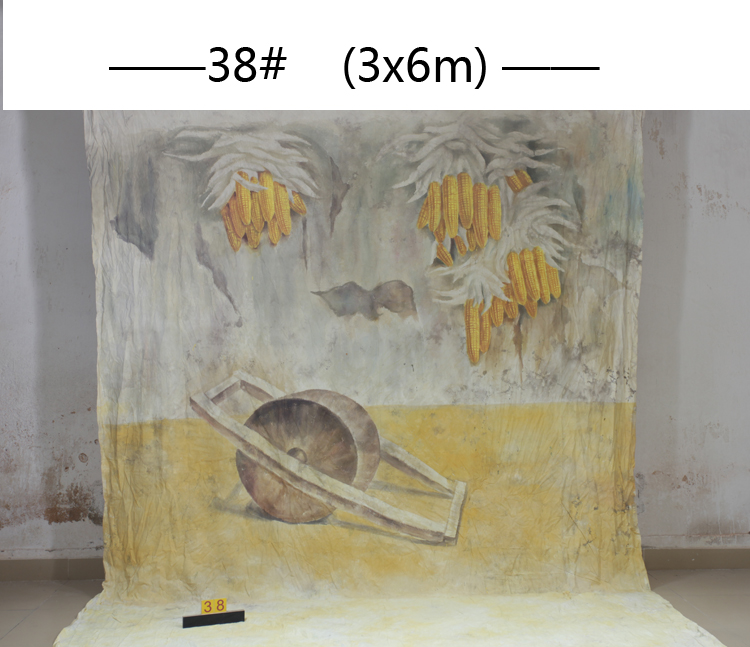 Toile de fond de ferme scénique peinte à la main 3x6 M, décors de photographie en mousseline rustique pour Photos de famille, adultes, enfants 38