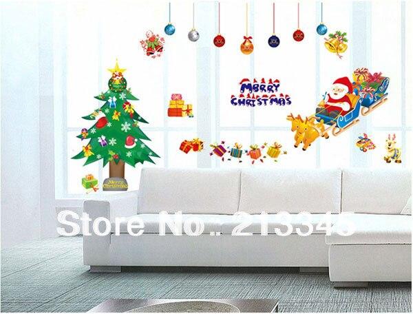 Us 615 12 Offfundecor Gembira Hari Natal Tahun Baru Hadiah Pohon Natal Santa Klausa Rusa Besar Mobil Dekorasi Dinding Stiker Stiker 6459 In Wall
