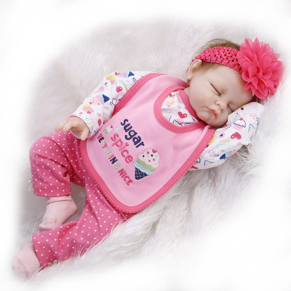 Soft silicone reborn baby doll toy for kids play house toy newborn sleeping babies birthday present bedtime toy dolls collection limited collection soft silicone reborn baby dolls toy lifelike newborn girls babies play house toy child kids birthday gifts
