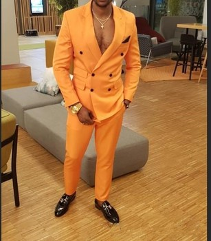 2019 New Arrival Latest Orange Double-Breasted Groomsman Groom Dress Men's Wedding Party Suit Best Men Tuxedo (jacket + pants)