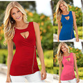 Fashion Women Summer Top Sleeveless Shirt Casual O Neck Tops Red