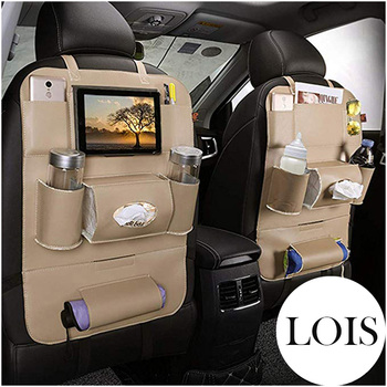 Car Leather Seat Back Organizer and iPad Mini Holder Universal Use as Car Backseat Organizer for Kids Storage Bottles LB004