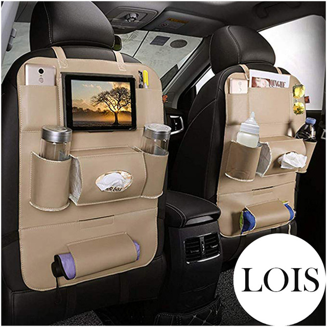 Car Leather Seat Back Organizer and iPad Mini Holder Universal Use as Car Backseat Organizer for Kids Storage Bottles LB004
