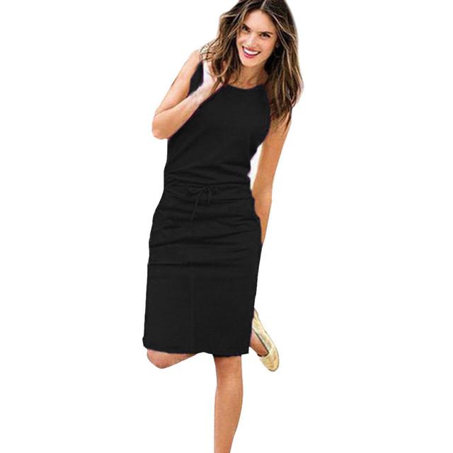Sleeveless  Pockets With Belt Pencil Sundress  Party Dress