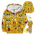 Spring and autumn Children clothing SpongeBob cartoon children cardigan coat thin cotton zipper jacket boys