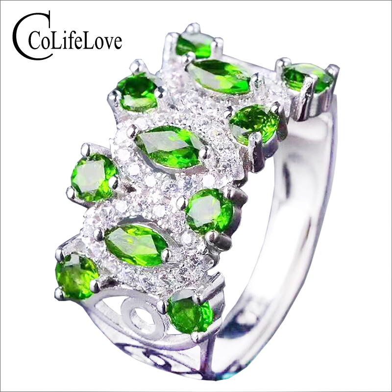 все цены на CoLife Jewelry luxurious silver diopside ring natural chrome diopside silver ring solid 925 sterling silver russian emerald ring онлайн