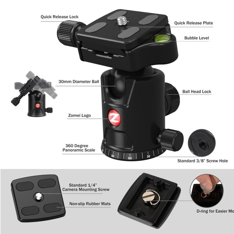 ZOMEI M8 Camera Tripod Portable Monopod Overhead -2