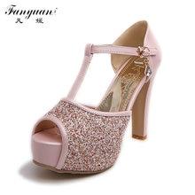 2016 Big Discount Female Sexy Peep Toe Buckle Strap Summer Pumps Girls High Heel Glitter Shoes Women Wedding sandles Big size