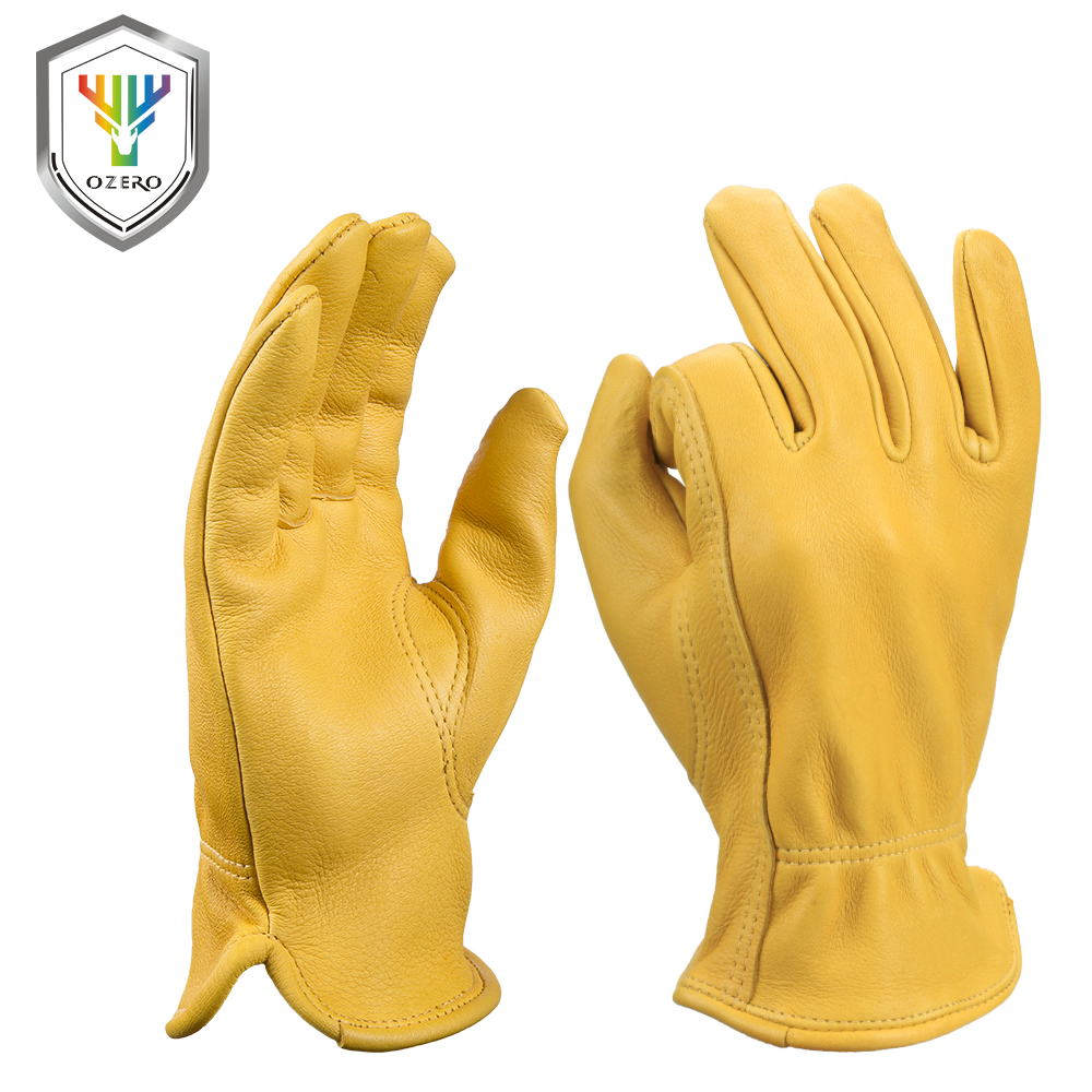 Inexpensive leather work gloves - Ozero New Work Garden Driver Gloves Deer Leather Security Protection Safety Workers Rigger Warm Black Yellow