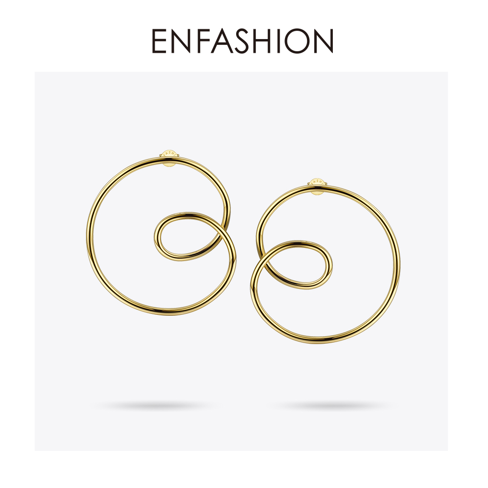 Image 2 - ENFASHION Wave Curve Drop Earrings For Women Gold Color Big Statement Accessories Loop Earings Fashion Jewelry Oorbellen EC1027Drop Earrings   -