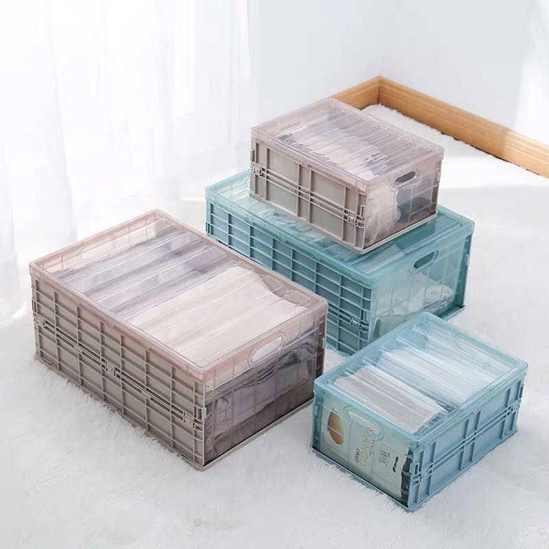 Collapsible Home Storage Box Plastic Crate Wardrobe Stackable Garage  Warehouse Desktop Car Underwear Sock Organizer Boxes