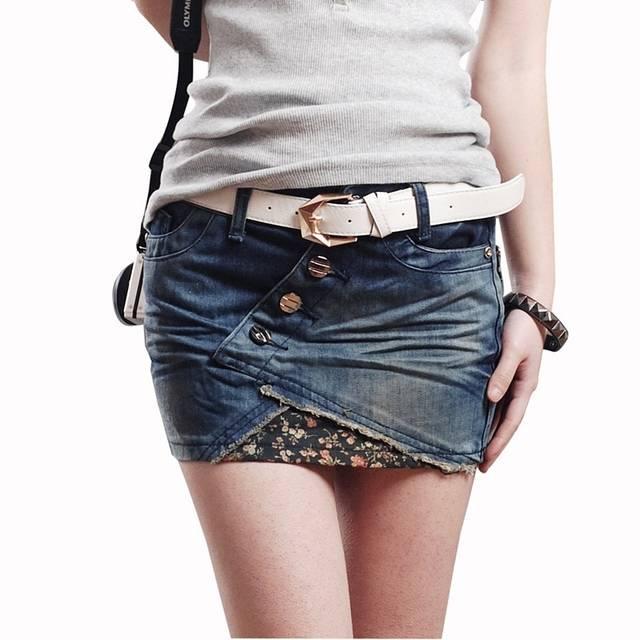 3ac844bfd91c7 2017 Été Fille Haute Qualité Femmes denim jupe courte, plus la taille  femelle demi-longueur de jupe minijupe en jean livraison gratuite