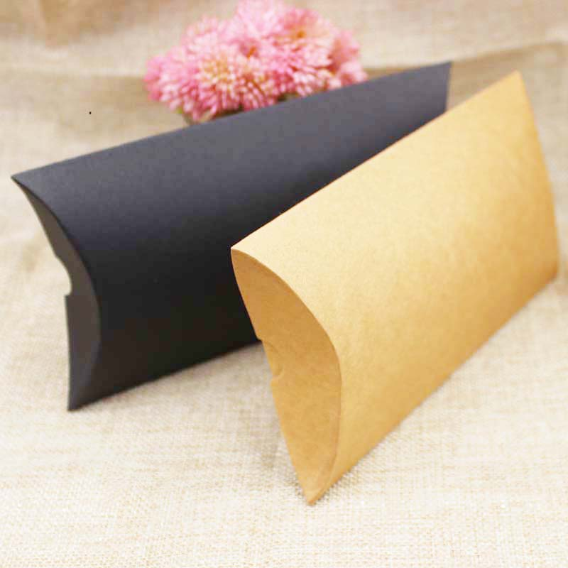 Wholesale paper packing box gift pillow display box black/kraft cardboard candy packing box custom cost extra