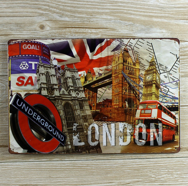 Vintage Plaques Home Decor Metal Painting Tin Signs Poster London Decoration  Cafe Bar Wall Art Craft