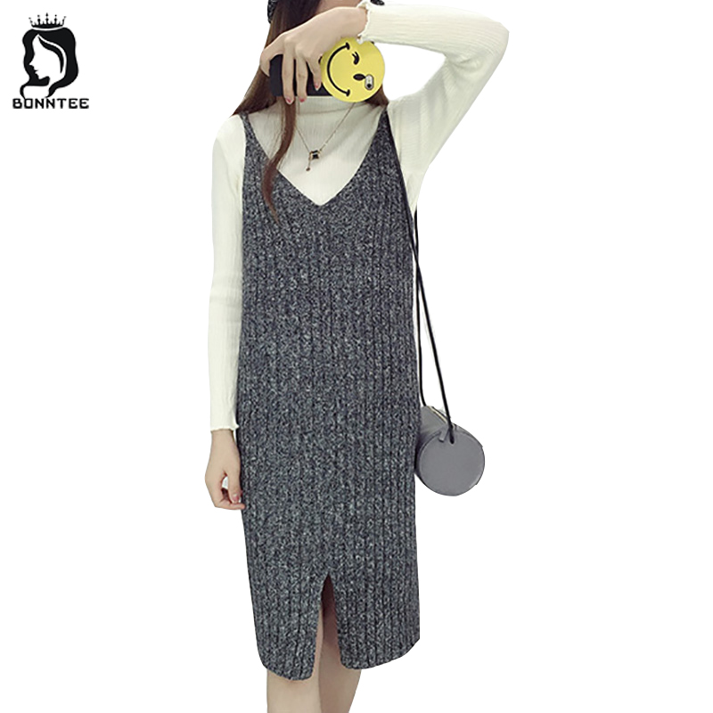 Women Knitted New Style Sleeveless Dress Female Casual Loose Solid Womens Elegant Winter Dresses Females Chic Korean Chic Lady