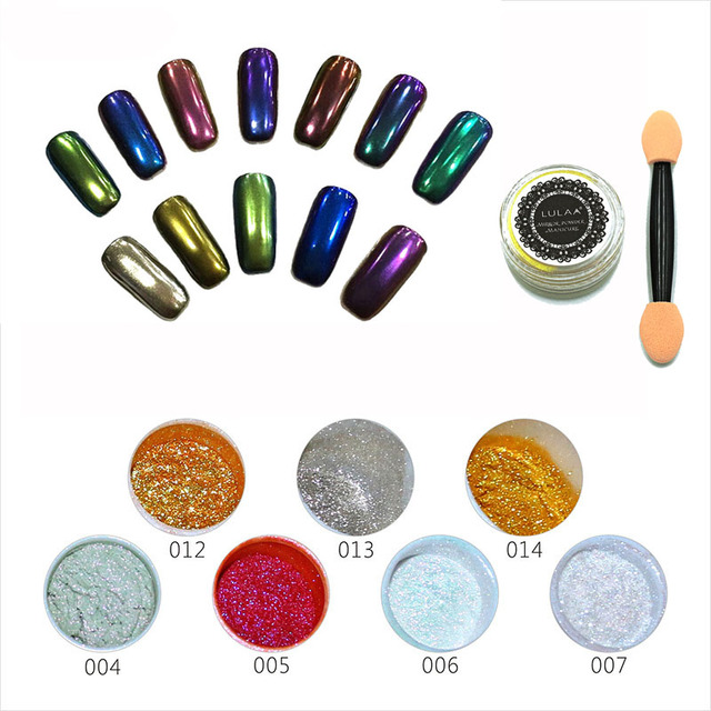 New 14 Color Gel Polish Nail Glitter silver mirror powder nails vtirka polish chrome nail powder Mirror Pigment Chrome BS610