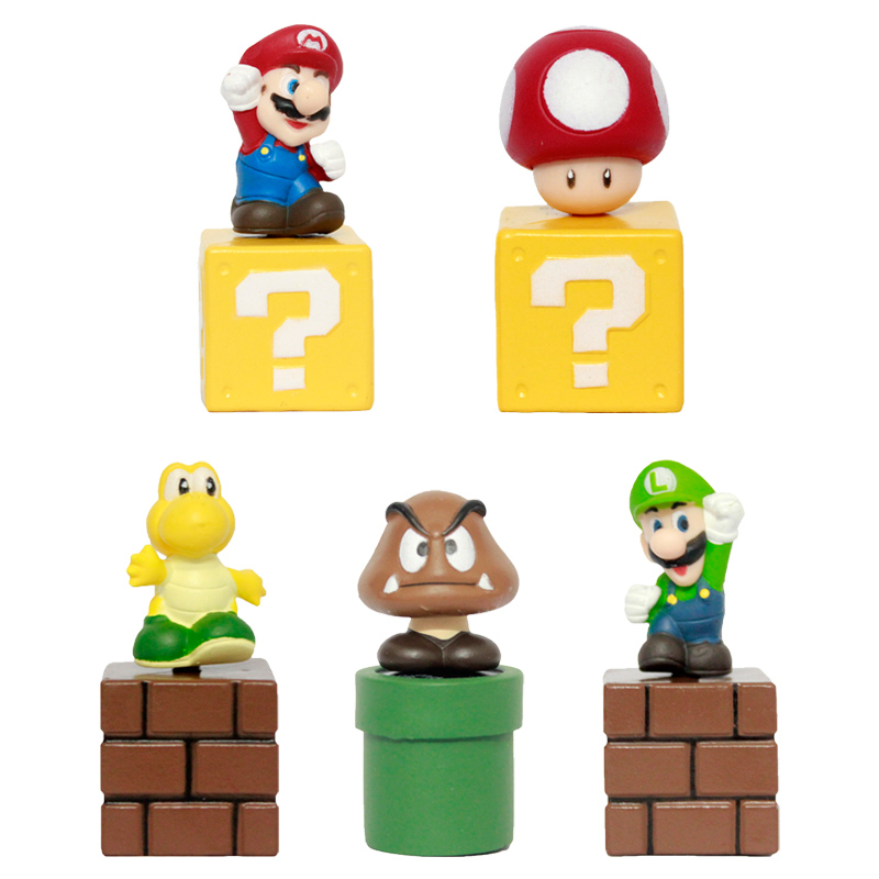 цена Super Mario Bros Mini Figures Bundle Blocks Mario Goomba Luigi Koopa Troopa Mushroom PVC Toys онлайн в 2017 году