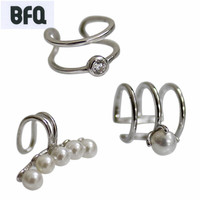 BFQ New 925 Sterling Silver Clip Earrings 3pcs A Set Sterling Silver Earrings For Women Pearl