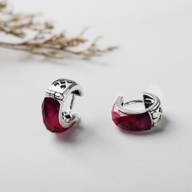 Real 925 Sterling Silver Earrings Ruby Minimalist Elegance Clip Earrings For Women Jewellery Accessories Plata De