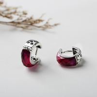 Real 925 Sterling Silver Earrings Ruby Minimalist Elegance Clip Earrings For Women Jewellery Accessories Plata De Ley 925