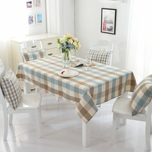 American Country Style Table Cover Waterproof Lattice Tablecloth Cotton Fabric Kitchen Rectangular Plaid Cloth