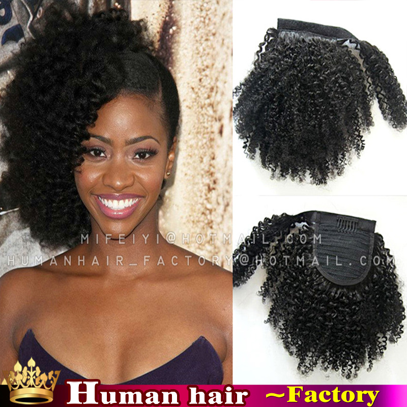 African American Short Clip In Human Afro Kinky Curly -9505