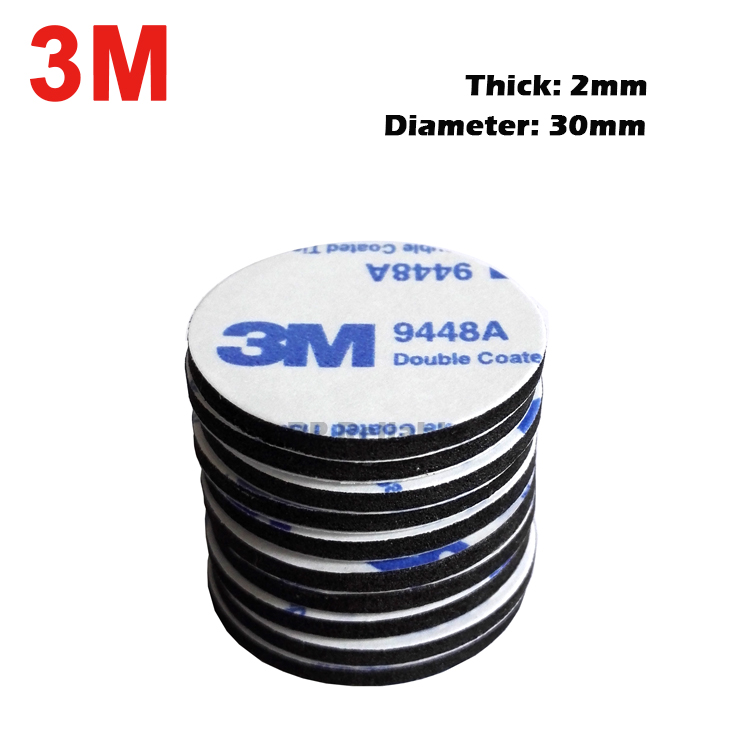 3M 30mm Diameter EVA Pad BLACK or WHITE Foam Tape Round Double Sided 2mm Thick