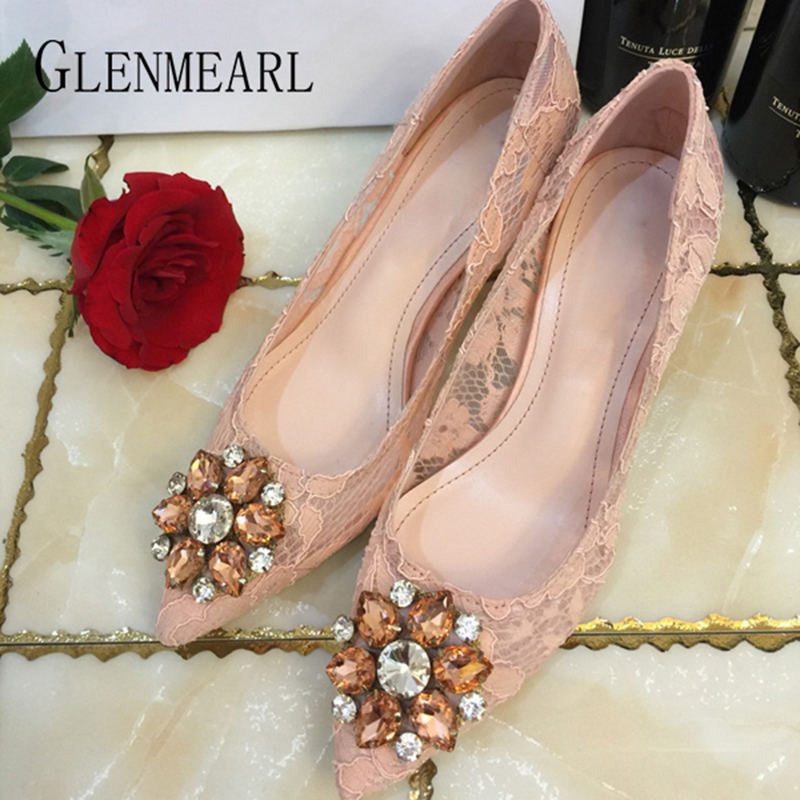 Women Pumps Wedding Shoes High Heels Rhinestone Mesh Party Shoes Woman Pointed Toe 2019Designe Luxury Spring Summer Female Pumps