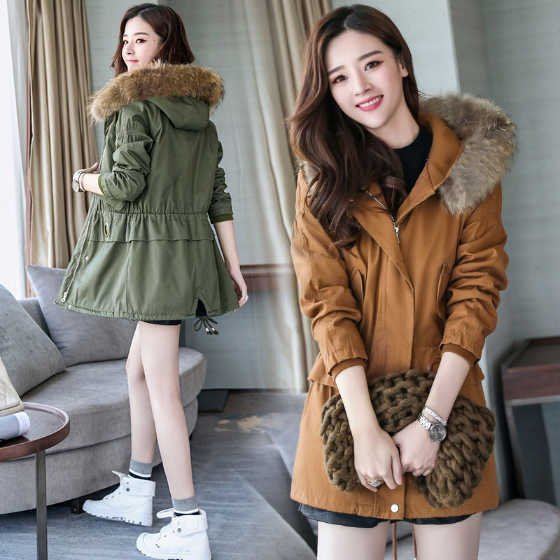 2017 New Arrival Women Parkas Autumn Winter Thicken Wool Overcoat Wadded Jacket Outerwear Large Fur Collar Slim Long Coat Parkas new arrival parkas winter warm women coat hooded fur collar outerwear female thick wadded jacket spliced casual style overcoat