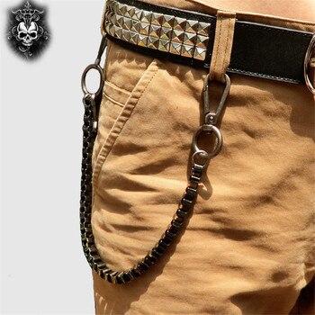 Fashion Punk Hip-hop Trendy Waist Chain Shield Charm Double Hinge Male Pants Belt Chain Women Men Jeans Metal Accessories DR53 4
