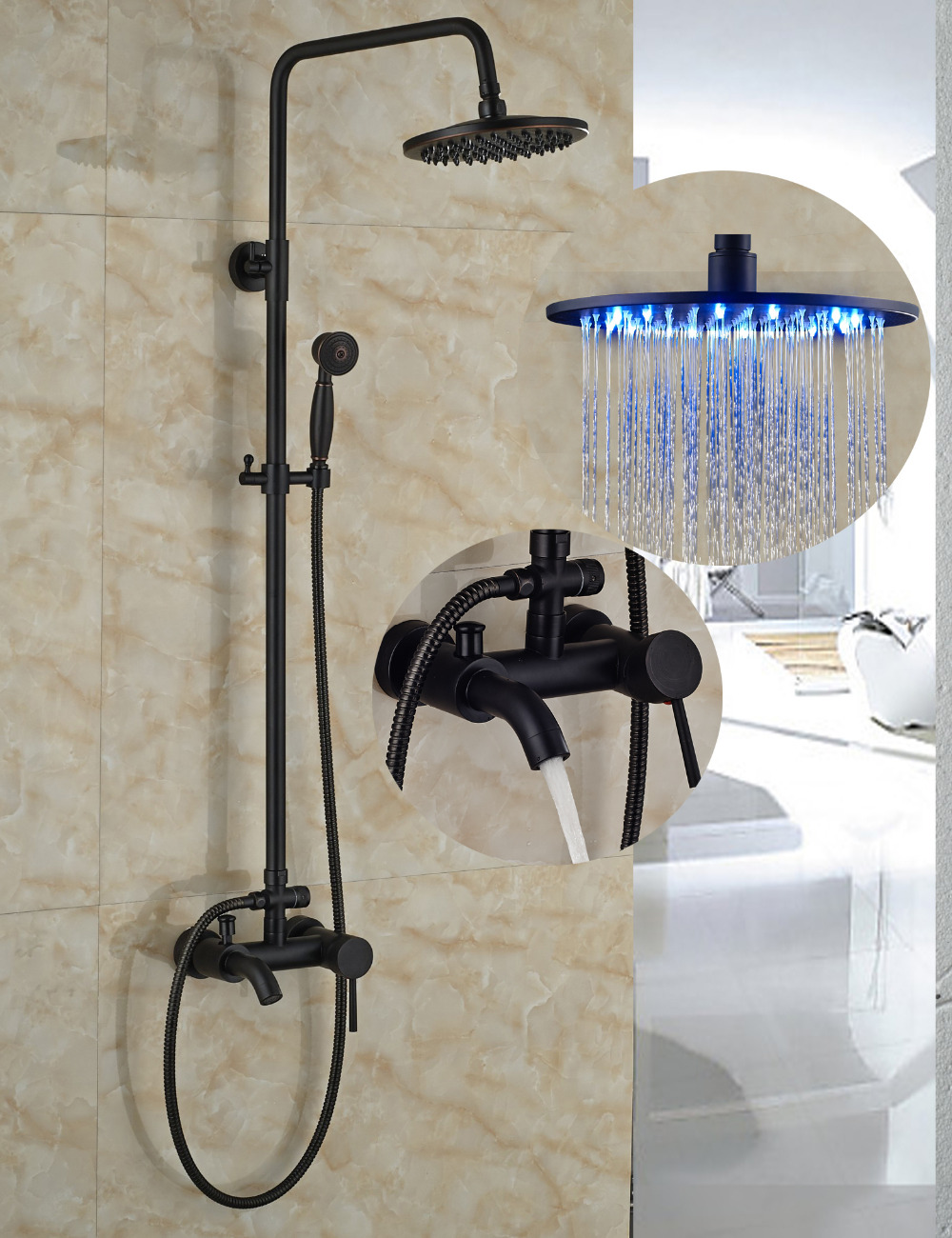 Wholesale And Retail Wall Mounted Oil Rubbed Bronze 8 LED Round Rain Shower Head Tub Spout Valve Mixer Tap Hand Shower