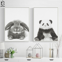 Cute Baby Animal Rabbit Canvas Art Print and Poster, Nursery Woodlands Panda Canvas Painting Nordic Wall Picture Home Decor cute women s satchel with rabbit print and canvas design